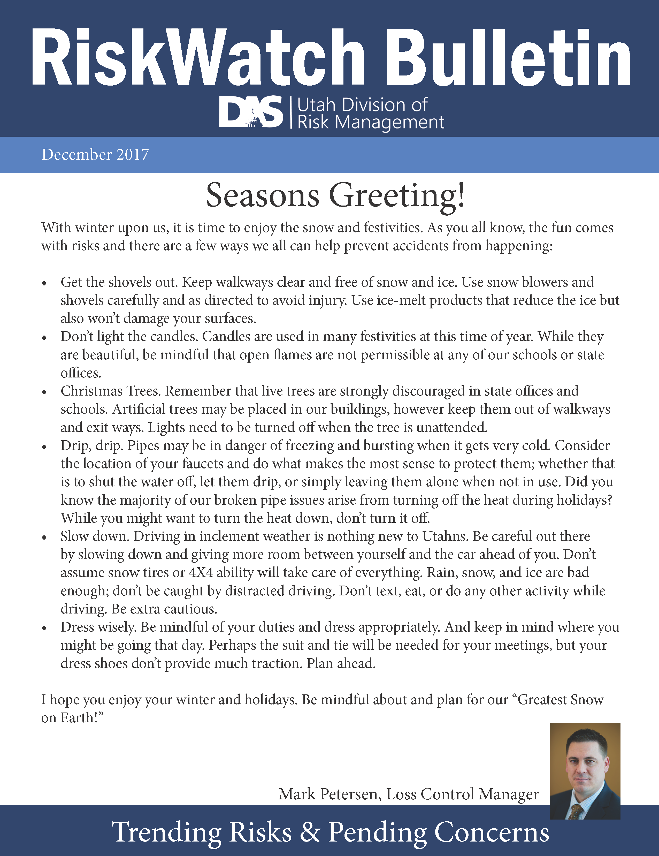 December RiskWatch Bulletin.  Click to open PDF